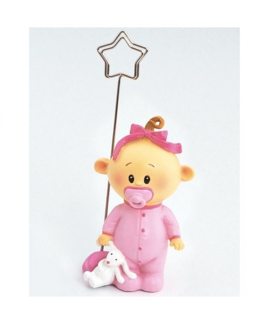 12 Sujeta tarjeta bebe niña chupete rosa