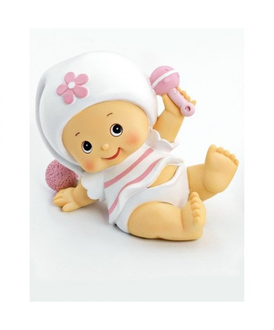Hucha bebe niña pijama blanco 12 cms