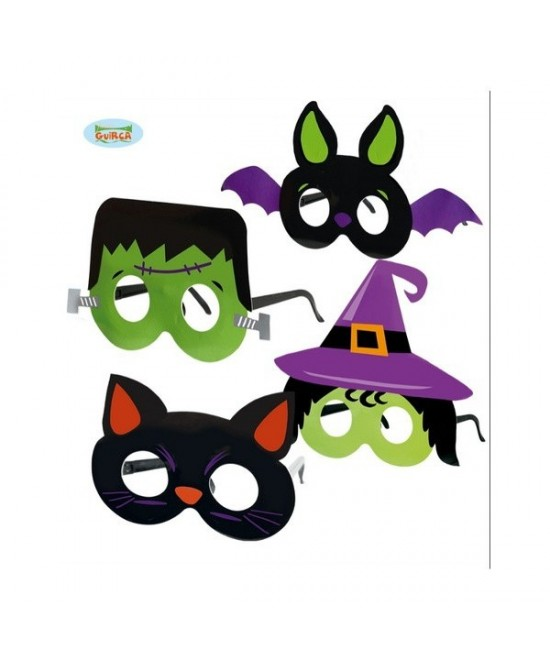 Set 4 gafas halloween carton surtidas