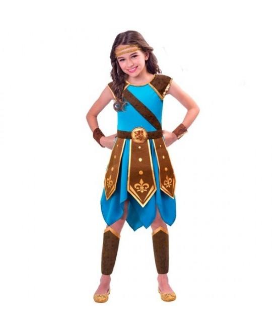 Disfraz Guerrera azul Medieval  niña