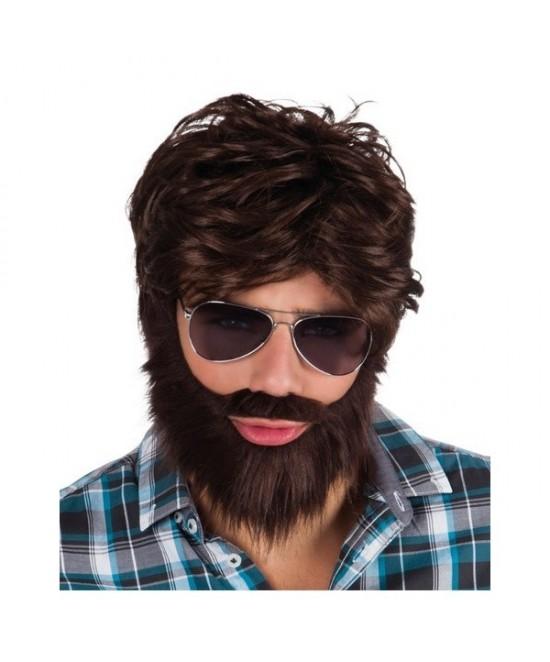 Peluca + barba con bigote