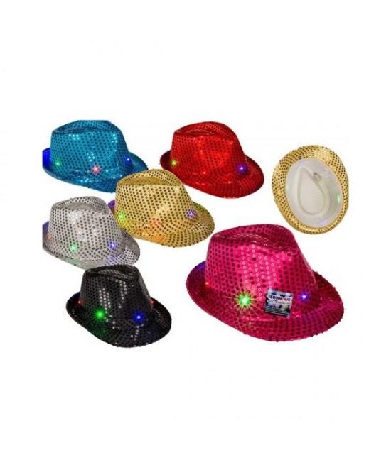 Sombrero lentejuelas con luz Led colores