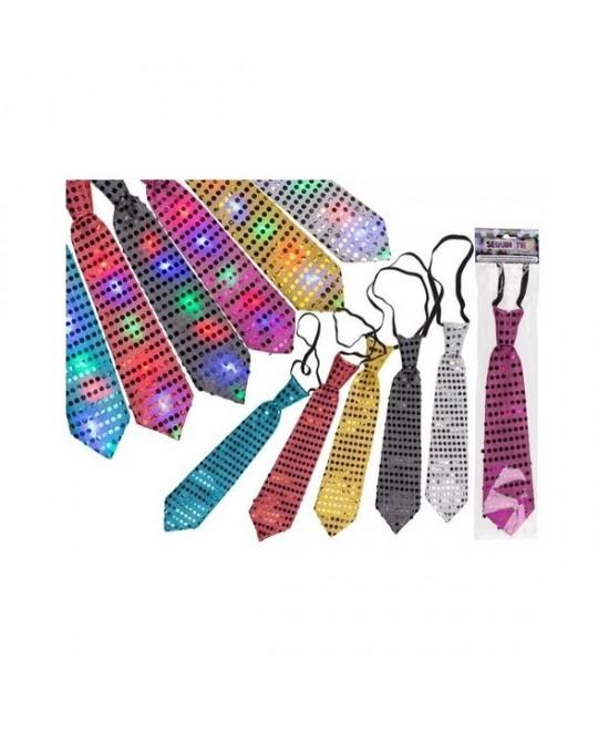 Corbata lentejuelas con luz Led colores
