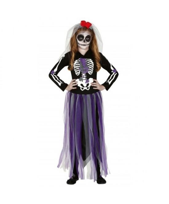 Disfraz esqueleto dia de difuntos niña