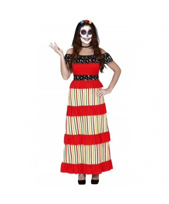 Disfraz esqueleto dia muertos mujer