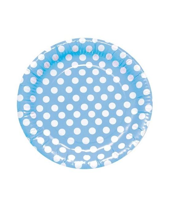 8 Platos Lunares Azul 23cm