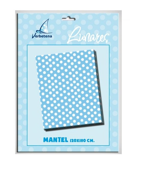 Mantel Lunares Azul 120x180