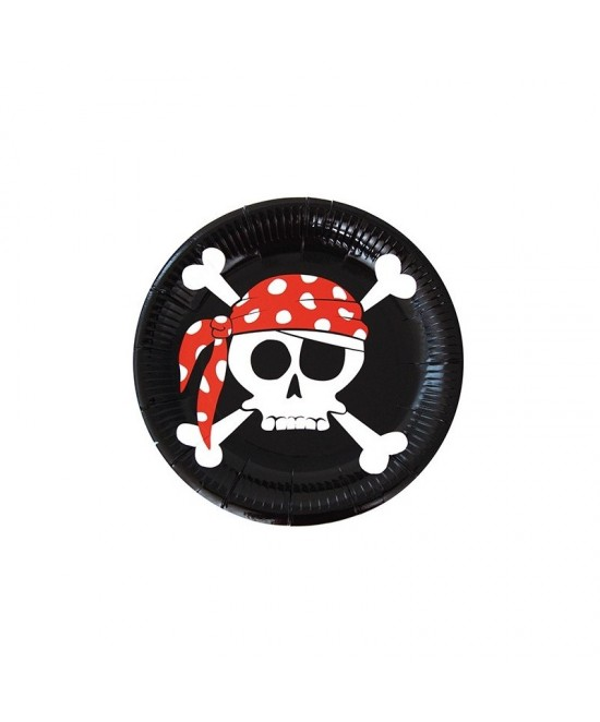 8 Platos desechables Piratas 23cm