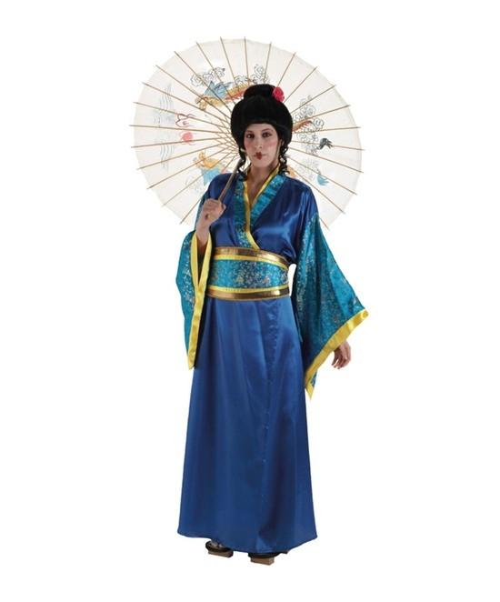 Disfraz Geisha Azul Mujer