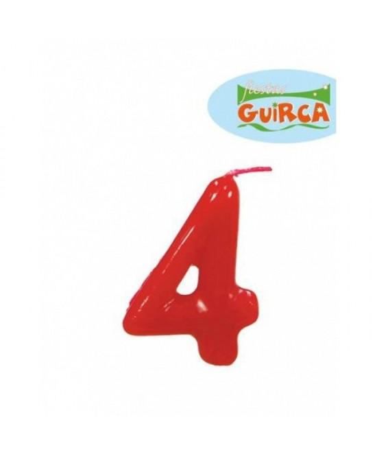 Vela Roja De Cumpleaños Nº4