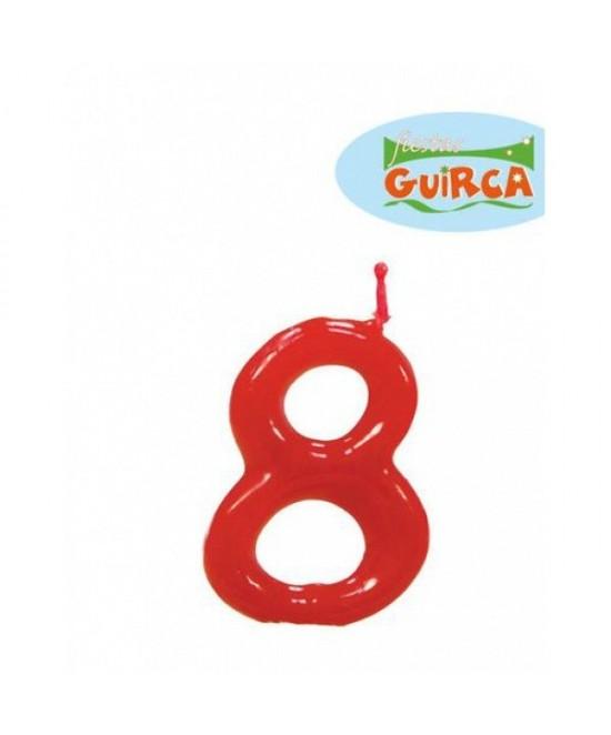 Vela Roja De Cumpleaños Nº8