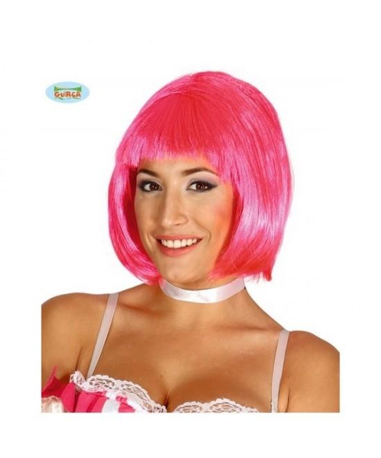 Peluca melena rosa