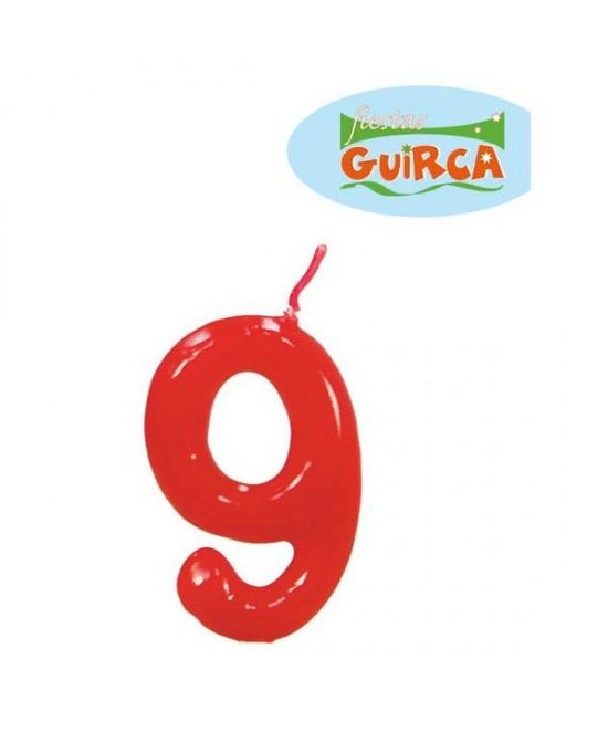 Vela De Cumpleaños  Nº 9 Roja