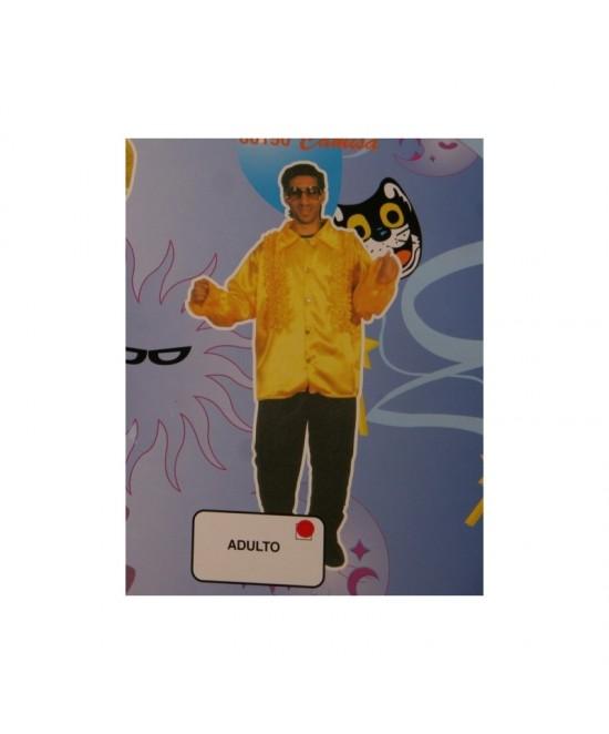 Camisa con chorrera  amarilla adulto