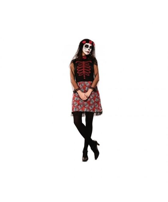 Disfraz Catrina roja mujer
