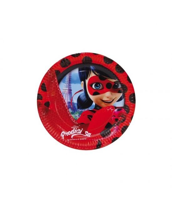 Platos Ladybug Desechables 23cm 8 Uds.