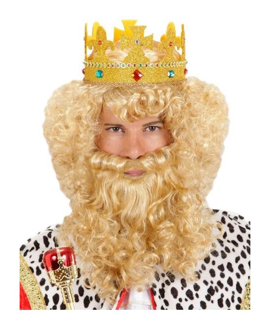 Peluca Rubia Rey con barba y bigote