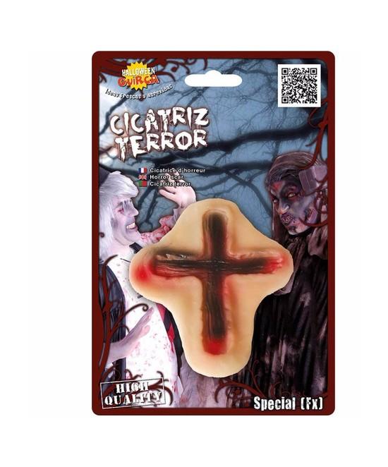 Cicatriz cruz pvc con cinta adhesiva