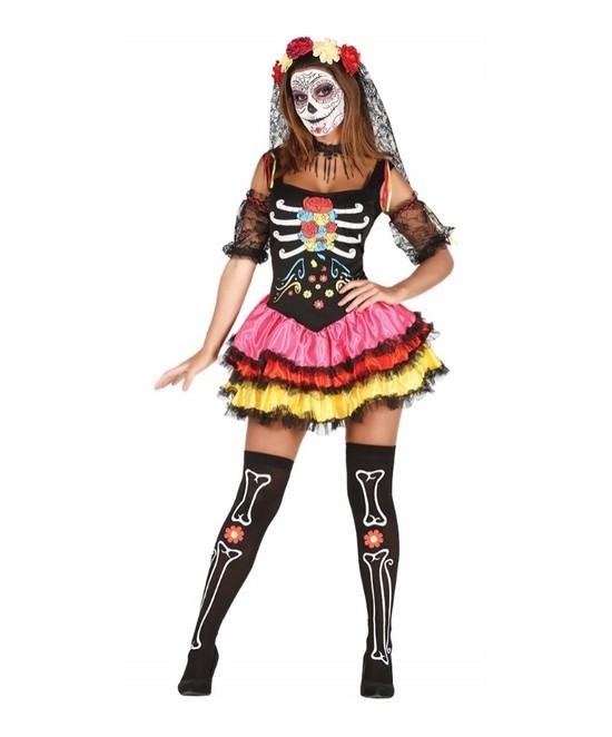 Disfraz catrina color para mujer