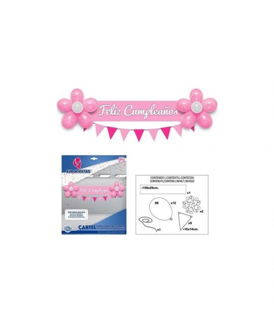 Cartel Feliz Cumpleaños Rosa