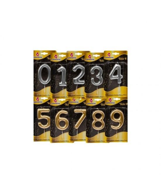 Vela Gigante número oro/plata 9 cm