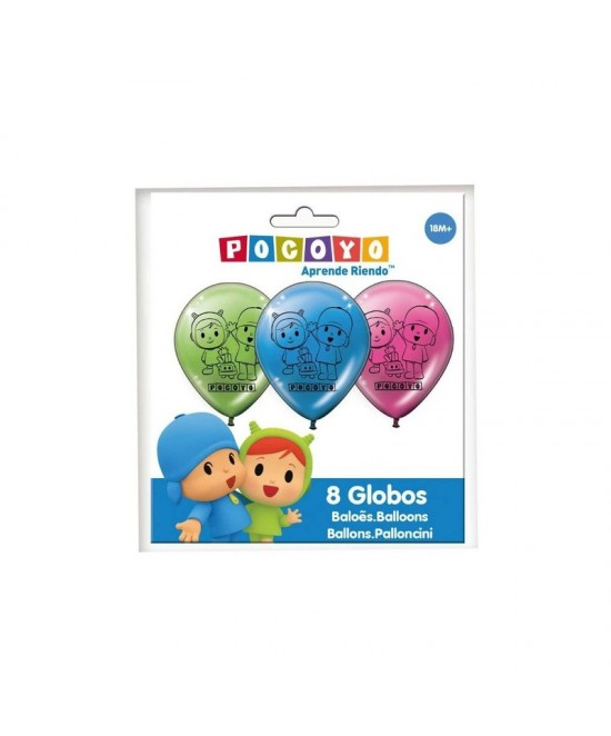Bolsa 8 globos Pocoyo y Nina
