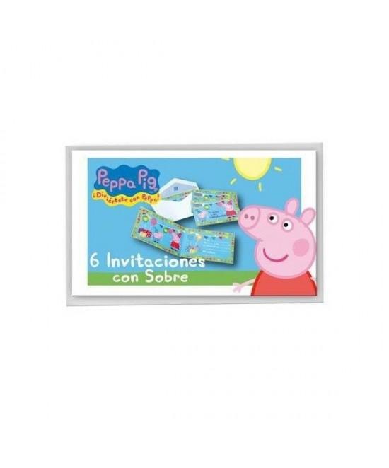 Invitaciones Peppa Pig C/sobre 6 Unid.