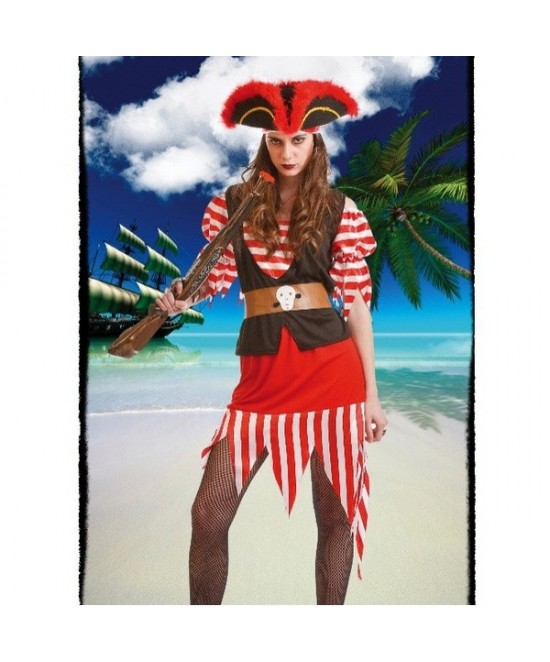 Disfraz Pirata Rojo Mujer
