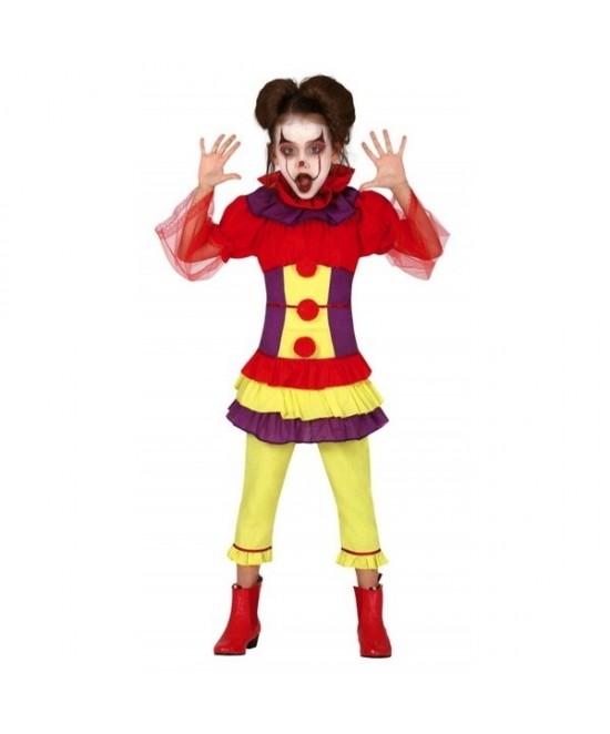 Disfraz Payasa cruel tricolor para niña