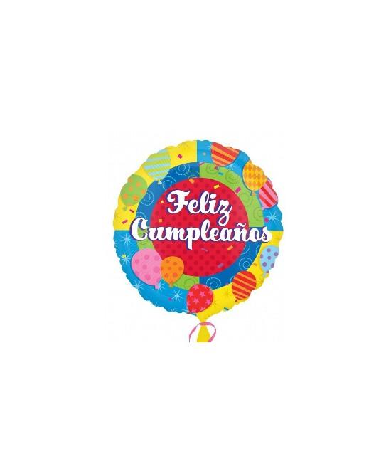 Globo Foil Feliz CumpleaÑos Caritas 18.