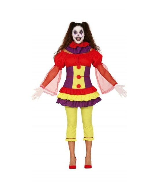 Disfraz payasa asesina tricolor mujer
