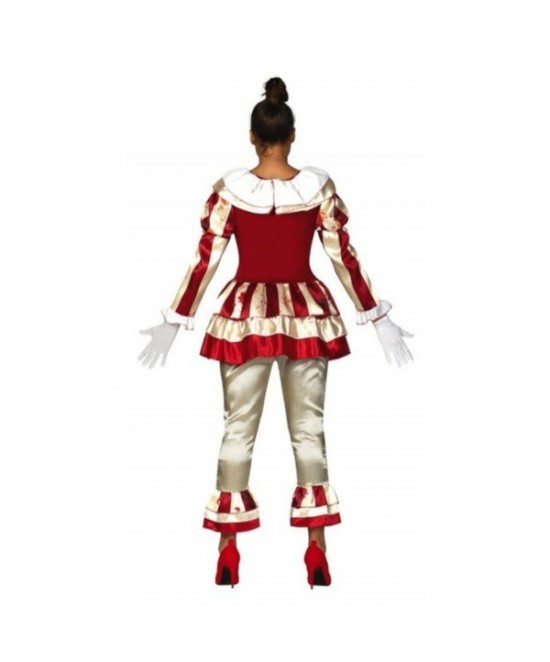 Disfraz payasa asesina rayas rojas mujer