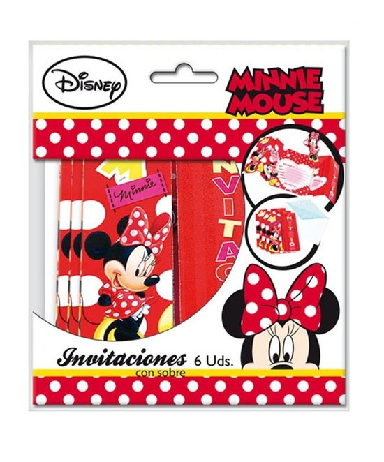 Invitaciones Minnie C/sobre  6 Unid.