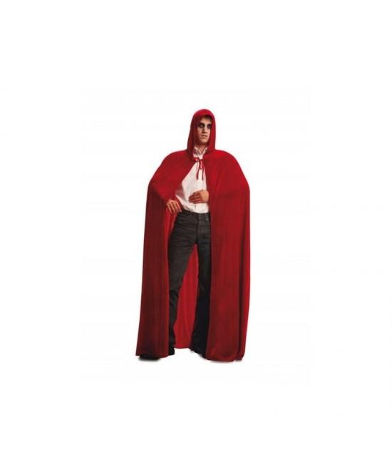 Capa con capucha terciopelo roja