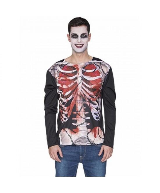 Camisa Esqueleto Zombie Adulto