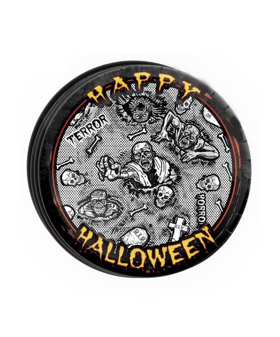 Bolsa 8 Platos 23cm Halloween Zombie