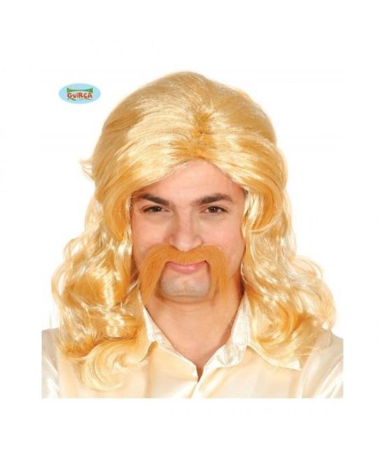 Peluca rubia con bigote