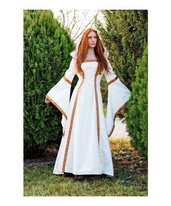 Disfraz Medieval Elanea Beige Lujo Mujer