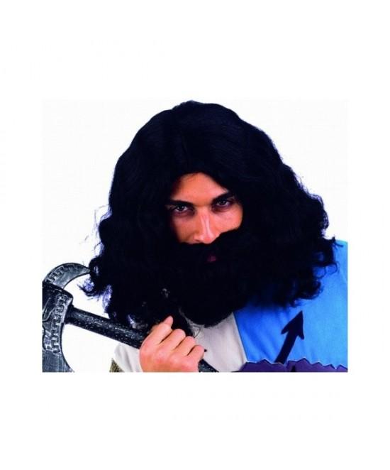 Peluca larga morena con barba