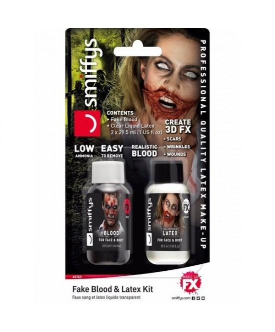 Set FX zombie :  latex + sangre 29.57ml