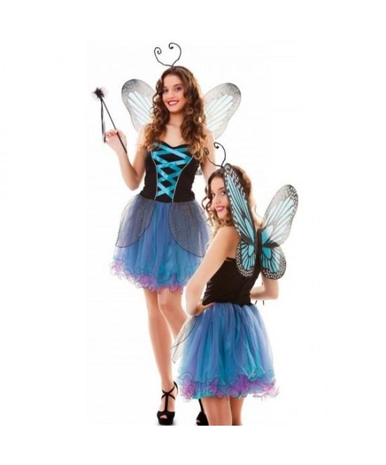Disfraz Hada Mariposa azul  mujer